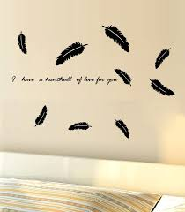 black flying feather wall decal sticker bedroom living room tv