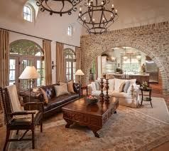 brown and beige living room living room mediterranean with open
