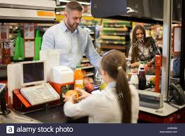 Supermarket Cash Desk Man Cashier Shop Desk Stock Photos U0026 Man Cashier Shop Desk Stock