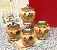 rooster kitchen canisters ebay