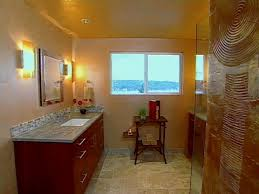 luminous bathroom color schemes with small silver mirror between