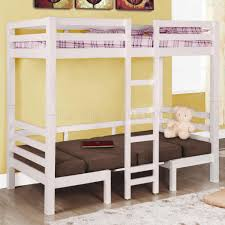 Convertible Bunk Beds Convertible Bunk Bed With Ladder On The Center In White Color