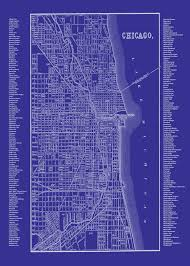 Chicago Neighborhood Map Poster by Chicago Blueprint Map Neighborhood Map Blue Blueprint Print