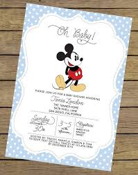 Free Mickey Mouse Baby Shower Invitation Templates - colors elegant disney baby shower invitation wording with white