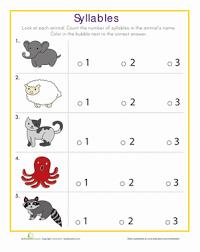 syllables quiz worksheet education com