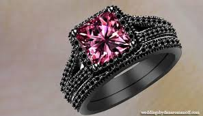 black wedding rings with pink diamonds black gold pink wedding rings and it a choice