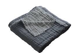 grand jeté de canapé grand jeté de canapé plaid bleu indigo en lavé gaufré ethnique