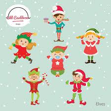 christmas elves vector clipart cl004 objects creative market