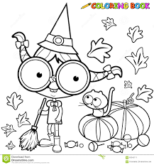halloween witch coloring pages coloring page halloween witch sweeping pumpkin leaves stock