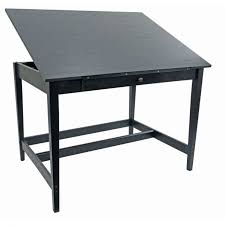 Lighted Drafting Table Desk Alvin X Vanguard Drawing Room Table In Black Ash Ba