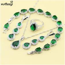 jewelry necklace rings images Xutaayi top quality silver color jewelry sets green imitated jpg