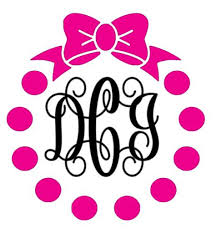 bow monogram circle dot with bow monogram decal southern grace creations
