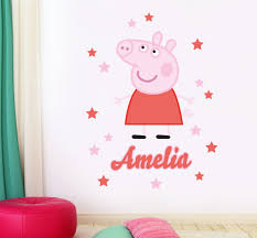 personalised name peppa pig children s bedroom playroom wall personalised name peppa pig children s bedroom playroom wall sticker wall decal wall art vinyl wall mural amazon co uk kitchen home
