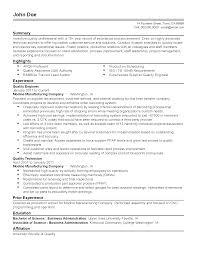 quality engineer cover letter 100 resume sample for quality engineer aeronautical