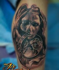 realistic zombie with brilliant clock tattoo on men u0027s sleeve