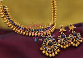 nl1915 gold plated mango design blue color stones traditional