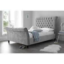 Grey Sleigh Bed Buy Velvet Beds Velvet Fabric Bed Crushed Velvet Beds Beds On Legs