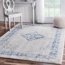 9 X 6 Area Rugs Nuloom Vintage Flower Medallion Light Blue Rug 4 U0027 X 6 U0027 Free