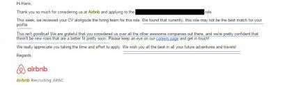 airbnb job interview the best job rejection letter haris khan pulse linkedin