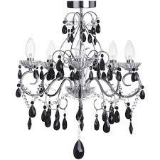 vara 5 light chrome bathroom chandelier w black crystals