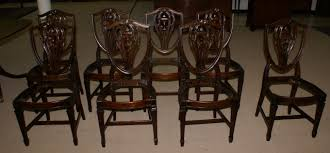 Dining Room Chairs Set by Set Of 8 Solid Mahogany Shield Back Dining Room Chairs