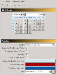 paint a calendar calendar swing components java