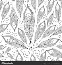 peacock feather vector seamless black white decorative pattern