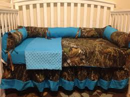 Camo Crib Bedding Sets Camo Mossy Oak And Turquois 4 Pc Crib Bedding Set With Minky Dots