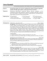 Office Clerk Resumes Resume Template For Receptionist Administrative Position Entry