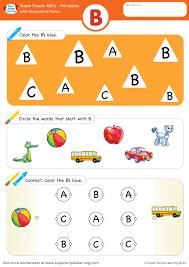 letter recognition u0026 phonics worksheet u2013 b uppercase super simple