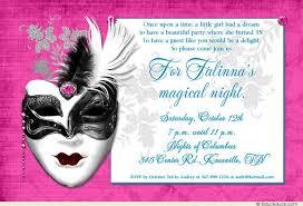 dramatic mask 15th birthday invitation magical design