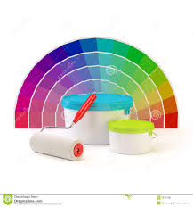pantone color palette paint roller and cans of paint stock