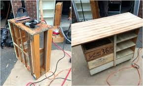 how to turn an ugly dresser into a rustic kitchen island cart