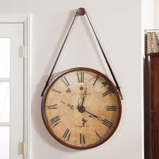 Wall Clocks by Hanging Decorative 24 In Wall Clock With Faux Leather Strap
