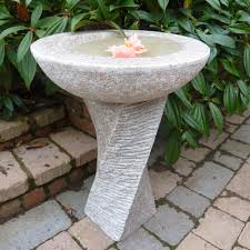 decor natural stone lowes bird bath with carving accent for