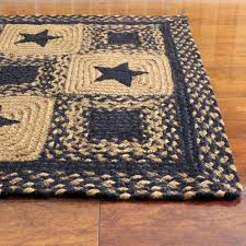 Large Jute Rug Black Star Rectangle Braided Rug Primitive Country Black And Tan