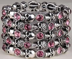 skull crystal bracelet images Crystal skull stretch biker bracelet blown biker jpeg