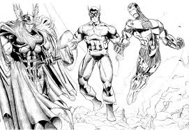 coloring pages of the avengers thor and captain america and iron man in the avengers coloring
