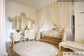 rococo interior design style cute neat boudoir with the nightstand peculiar carpet and gilded curtain