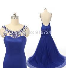 aliexpress com buy mermaid prom dress royal blue low cut