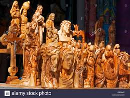 christian statues wooden christian statues in souvenir shop nazareth israel stock