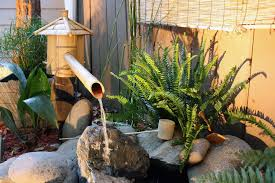 outdoor garden decor bamboo fountain for unique garden decor with classy asia look