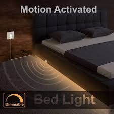 motion activated led light strip dimmable bed light with motion sensor and power adapter under bed