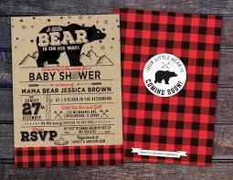 lumberjack baby shower invitation buffalo plaid woodland baby