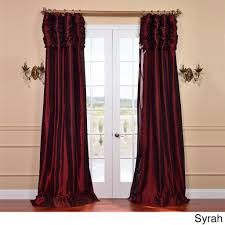 96 Inch Curtains Blackout by Exclusive Fabrics Ruched Header Solid Color Faux Silk Taffeta 96