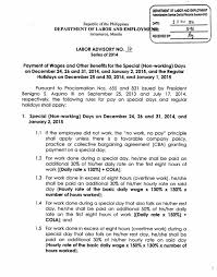payment of wages and other benefits for the special non working