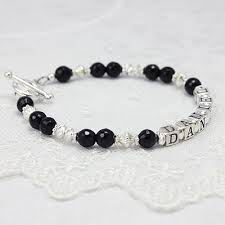mothers bracelet faceted onyx and silver name bracelets with black onyx and diamond