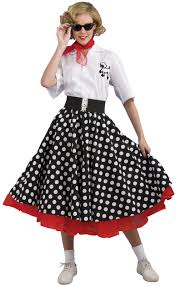 50 u0027s dresses for teens 50s black polka dot skirt deluxe costume