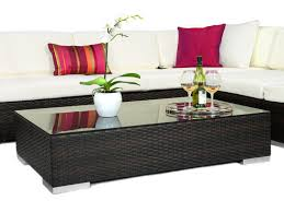 Wicker Patio Coffee Table Outdoor Coffee Table Large Brown Rattan Coffee Table For Outdoors