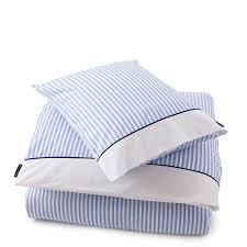 lexington striped poplin bed linen 260 x 220 50x75 2 lt blue
